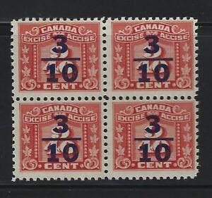 CANADA - #FX105 - 3/10c on 9/40c RED THREE LEAF MINT BLOCK OF 4 MNH MLH