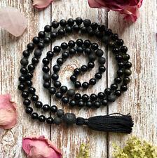 8mm Natural Black Onyx gemstones Mala knotted Necklace Buddhist Prayer Beads