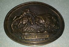 Buffalo Runner , CM Russell  Westerner Collection,  Solid Brass Buckle,