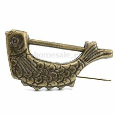 Vintage Brass Chinese Old Style Fish Lock & Key Antique Collectibles Jewelry Box