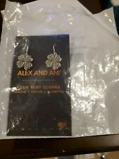 Authentic Alex and Ani Four Leaf Clover Hook Earrings NWT