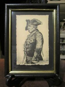 Framed Antique Print Etching by Adolph von Menzel - Frederick the Great