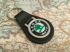 SKODA Quality Black Real Leather Keyring 1