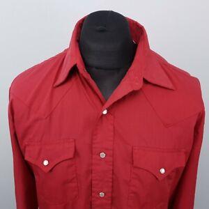 BIG D Mens Vintage Western Shirt Snap MEDIUM Red Regular Polyester Cotton