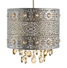 Silver Floral Cut Out Moroccan Ceiling Drum Shade Amber Crystal Droplets NEW