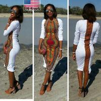 Women Traditional African Print Dashiki Stretch Party Bodycorn Long Dress Plus