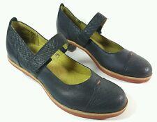 Last womens unique black leather Mary Jane shoes uk 4 Eu 37 New