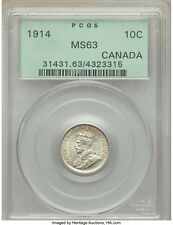 Canada 1914 George V 10 cents PCGS MS63 high end undergraded silver coin