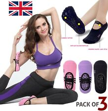 3 Pairs Non-Slip Yoga Socks Yoga Fitness with Grip Pilates For Dance Sports Gym