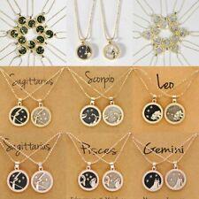 12 Constellation Star Day & Night Zodiac Sign Necklace Pendant Gold Choker Hot