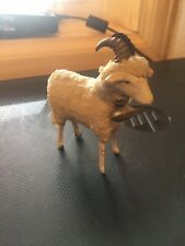 Early 1900s Wooly Sheep Wooden Legs Wool-wrapped Body With Bell German Putz?
