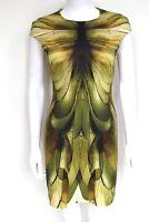 MCQ ALEXANDER MCQUEEN Dragonfly Wing Yellow Green Print Dress S