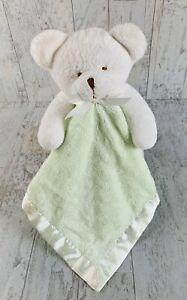 "White Teddy Bear Mint Green  Lovey Security Blanket Plush  Unisex 18"" Satin Bump"