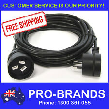 7-Metre Power Extension Lead 1mm Cord Cable Wire Piggy Back Black 7M Piggyback