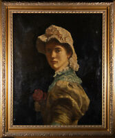 Late 19th Century Oil - Young Lady With A Rose
