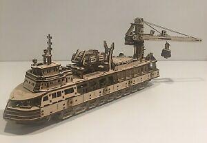 UGEARS 575 pcs RESEARCH VESSEL Mechanical Wooden Model KIT - 3D Puzzle- BUILT!