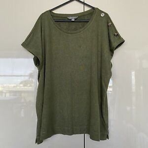 Suzanne Grae Womens Green Short Sleeve Button Feature Top Tee T-Shirt Size XL