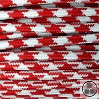 Textilkabel Stoffkabel Lampen-Kabel Stromkabel, Stern Rot Weis 3 adrig