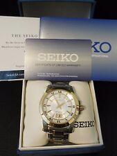 Seiko Men's Premier Gold Stainless Steel 2 Tone Watch SAPPHIRE Crystal SUR016P1