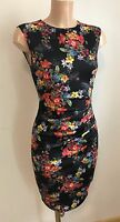 Black Red Yellow Floral Ruch Front Wiggle Pencil Smart Casual Dress Size 12 - 18