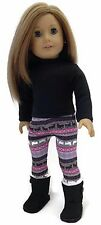 "Black Top & Reindeer Leggings fits 18"" American Girl Doll Clothes Accessories"