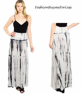 BOHO Hippie Ivory Black Tie Dye Wide Flared Jersey Knit Maxi Long Skirt S M L XL
