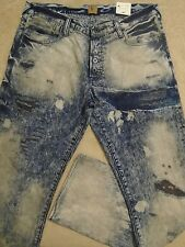 PRPS BARRACUDA Acid Bleached Bruised Creased Patched-In Mens 36 x 34 Jeans $350
