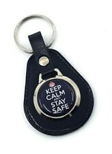 Keep Calm and Stay Safe Leather Keyring