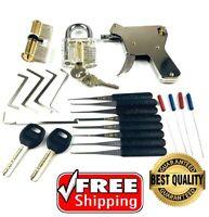 NEW Lock Padlock Kit Tools Transparent Key Lock Gun Hand Tool Set