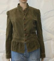 Khaki Denim ZARA BASIC Button Fitted Hip Length Casual Jacket Blazer Size L