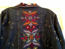 Denim Co Jeans Jacket Coat Button Embroidered Ethnic Bold Colors Long Sleeve  G3