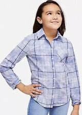 Justice Girl's Size 6-7 Watercolor Blue Plaid Long Sleeve Button Up New with Tag