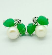 Beautiful cultured white pearl carved green jade leaf stud earring