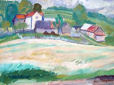 Ludek Majer *1925 Solanec (Tschechien) / Gemälde Dorf in der Walachei / signiert