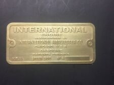 New International Ihc 1-1/2 M Etched Brass Tag Antique Gas Engine Hit Miss