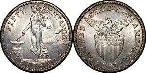 1907-S US/Philippines 50 Centavos ~ Ch.AU Details ~ 75% Silver ~ A#14.02 ~ MX825