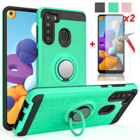For Samsung Galaxy A21 A20 A30 Shockproof Hybrid Armor Case Cover+Tempered Glass