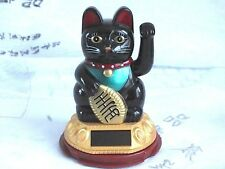 "4.5"" CHINESE BLACK MANEKI NEKO SOLAR LUCKY CAT ORNAMENT FIGURE PARTY A2"