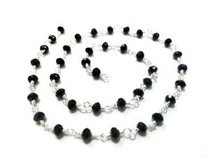 10 Feet Black Spinel Rondelle 3-4mm Beads, Rosary Beaded Chain Silver Wire B2