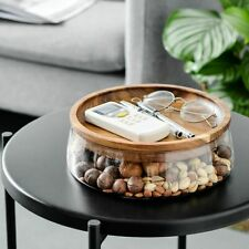 Glass Storage Container With Lid Wooden Tray Snack Bowl Dry Food Box Big Jar New