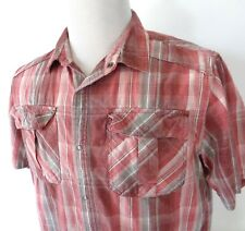 Prana Large Shirt Short Sleeve Snap Button Up Plaid Red Gray Organic Cotton