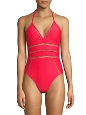NWT Ella Moss One Piece Halter Neck Tie Crafty Swimsuit XS Passion Red
