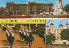 Postcard: Colourful London - Buckingham Palace/Life Guards/Tower  (1970s)