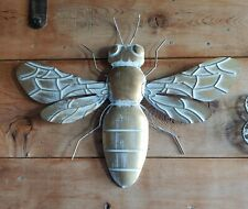 BUMBLE BEE Metal Wall Art Garden Sculpture Gold & Whitewashed 3D Wall Decor 20""