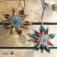 Temerity Jones 50s Style Xmas Glass Tinsel Snowflake Star Atomic Tree Decoration