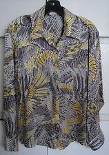 stunning feather print SALVATORE FERRAGAMO Italy 100% silk women SHIRT US 10
