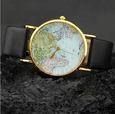 HOT SALES unisex Women's Lady World Map dial Quartz Black PU Band wrist watch
