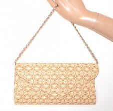 BOLSO oro beige pochette mujer encaje bordado shimmer clutch bag elegante E155