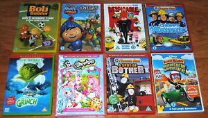 Kids Childs DVD Bundle x 8 Fireman Sam Bob Builder Shopkins Mike Knight Grinch