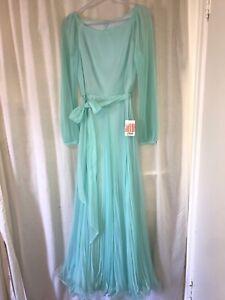True Vintage Pleated Chiffon Dress New Old Stock Nwt Miss Elliette Size 8 Aqua